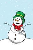 De gelukkige schets van de sneeuwmens Stock Afbeelding