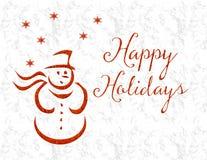 De gelukkige Sneeuwman van de Vakantie Rode Fonkeling Royalty-vrije Stock Afbeelding