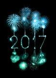 2017 de gelukkige sterretjes van het Nieuwjaarvuurwerk Stock Foto's