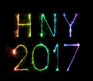 2017 de gelukkige sterretjes van het Nieuwjaarvuurwerk Royalty-vrije Stock Afbeeldingen