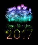 2017 de gelukkige sterretjes van het Nieuwjaarvuurwerk Royalty-vrije Stock Fotografie