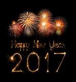2017 de gelukkige sterretjes van het Nieuwjaarvuurwerk Stock Afbeelding