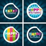 De gelukkige Stickers van de Verjaardag Stock Afbeeldingen