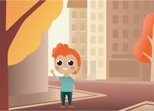 De gelukkige student gaat naar school Terug naar illustratie van de school de vectorstijl met schoolactiviteit De jonge toerist l royalty-vrije illustratie