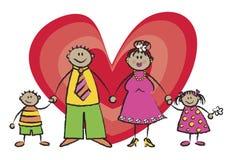 De gelukkige Tan van de Familie Toon van de Huid Royalty-vrije Stock Afbeelding
