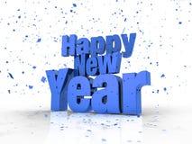 De gelukkige Tekst van het Nieuwjaar met Confettien in Blauw Stock Foto