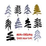 De gelukkige Tekst van het Nieuwjaar Vrolijke Kerstmistekst Zwarte en kleurenborstelkalligrafie op witte achtergrond met abstract royalty-vrije illustratie
