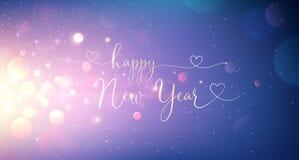 De gelukkige tekst van de Nieuwjaargroet Vector stock foto's