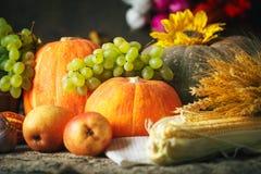 De gelukkige Thanksgiving dayachtergrond, de houten die lijst met Pompoenen wordt verfraaid, de Maïs, de vruchten en de herfst ga stock foto's