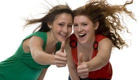 De gelukkige tieners tonen vreugde Stock Foto's