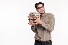 De gelukkige toevallige boeken van de mensenholding Royalty-vrije Stock Foto