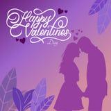 De gelukkige typografie van de valentijnskaartdag met illustraties royalty-vrije illustratie