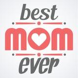 De gelukkige typografische illustratie van de Moedersdag De beste kaart van de mamma ooit gift Typografiesamenstelling Stock Foto