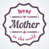 De gelukkige typografische illustratie van de Moedersdag De beste moeder in de kaart van de wereldgift Royalty-vrije Stock Foto's
