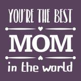 De gelukkige typografische illustratie van de Moedersdag De beste moeder in de kaart van de wereldgift Stock Foto