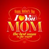 De gelukkige typografische kaart van de Moeder` s Dag. Stock Foto