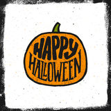 De gelukkige uitstekende banner van Halloween met typografie Stock Foto