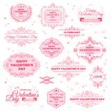 De gelukkige Uitstekende Etiketten van de Valentijnskaartendag Stock Afbeelding