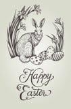 De gelukkige uitstekende hand getrokken de kaartillustratie van Pasen met konijntje, feestelijke eieren en narcissen bloeit Royalty-vrije Stock Foto's