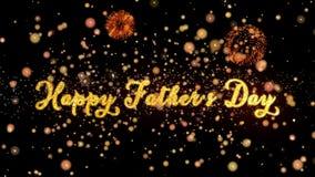 De gelukkige Vaderdag Abstracte deeltjes en schitteren de kaart van de vuurwerkgroet royalty-vrije illustratie