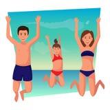 De gelukkige vakantie van de familiezomer Stock Foto's
