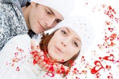 De gelukkige valentijnskaarten koppelen in liefde Royalty-vrije Stock Fotografie