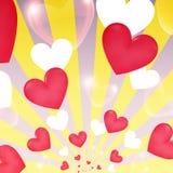 De gelukkige Valentine-harten van de dag gele zonnestraal, vliegende banner Stock Fotografie
