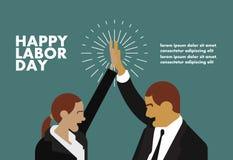 De gelukkige van de de groetkaart van de arbeidsdag illustratie van het de zakenmanconcept Royalty-vrije Stock Afbeeldingen