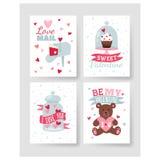 De gelukkige van de de Groetkaart van de Valentijnskaartendag vectorillustratie Royalty-vrije Stock Afbeelding
