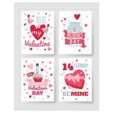 De gelukkige van de de Groetkaart van de Valentijnskaartendag vectorillustratie Stock Fotografie