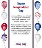 De gelukkige van de de Onafhankelijkheidsdag van de V.S. vectoraffiche Stock Foto