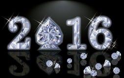 De gelukkige van de het jaardiamant van 2016 Nieuwe vector van de de pookspade vector illustratie