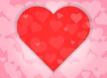 De gelukkige van de het hartvorm van de valentijnskaartendag rode abstracte achtergrond Royalty-vrije Stock Afbeeldingen