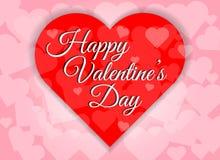 De gelukkige van de het hartvorm van de valentijnskaartendag rode abstracte achtergrond Royalty-vrije Stock Foto