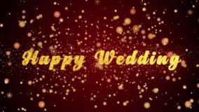 De gelukkige van de de kaarttekst van de Huwelijksgroet glanzende deeltjes voor viering, festival stock illustratie