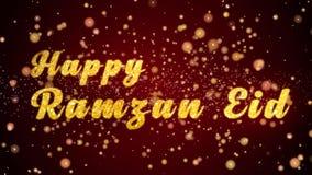 De gelukkige van de de kaarttekst van Ramzan Eid Greeting glanzende deeltjes voor viering, festival stock illustratie