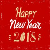 De gelukkige van letters voorziende tekst van de Nieuwjaar 2018 hand op rode achtergrond Vectorgroetkaart voor Nieuwjaarskaart, a Stock Afbeeldingen