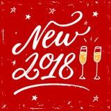 De gelukkige van letters voorziende tekst van de Nieuwjaar 2018 hand op rode achtergrond Vectorgroetkaart voor Nieuwjaarskaart, a Stock Fotografie