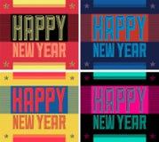 De gelukkige van de de Stijl Typografische vectorkaart van Nieuwjaar Stedelijke Grunge Reeks van de de afficheinzameling royalty-vrije illustratie