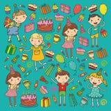 De gelukkige van de de Verjaardagshoed van het verjaardags vectorontwerp Partij en de viering Kleuterschoolkinderen, de partij va vector illustratie