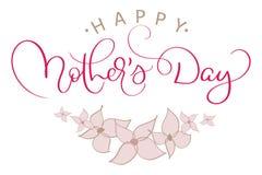 De gelukkige vector uitstekende rode tekst van de Moedersdag met roze bloemen Kalligrafie van letters voorziende illustratie EPS1 stock illustratie