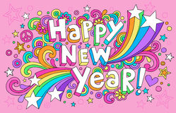 De gelukkige Vector van de Krabbels van het Notitieboekje van het Nieuwjaar Hip Royalty-vrije Stock Foto