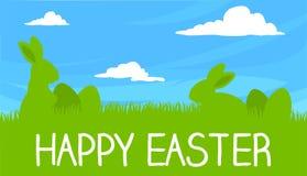 De gelukkige Vector van Pasen Bunny And Eggs Greeting Card met Blauwe Hemel Stock Foto