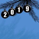 De gelukkige vectorachtergrond van de Nieuwjaar 2019 vakantie met Kerstmisdecoratie vector illustratie