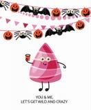 De gelukkige Vectorbanner van Halloween Laat wild en gek ` s worden Stock Foto