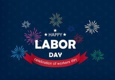 De gelukkige vectorillustratie van de Dag van de Arbeidbanner stock foto's