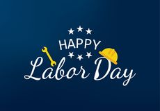 De gelukkige vectorillustratie van de Dag van de Arbeidbanner stock afbeeldingen