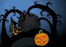 De gelukkige vectorillustratie van Halloween met pompoenen Stock Afbeelding