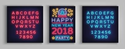 De gelukkige Vectorillustratie van de Nieuwjaar 2018 Affiche Neonteken, Stock Afbeelding