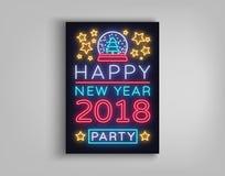 De gelukkige Vectorillustratie van de Nieuwjaar 2018 Affiche Neonteken, lichtgevende banner Brochureontwerp in een neon-stijl uit Royalty-vrije Stock Foto's